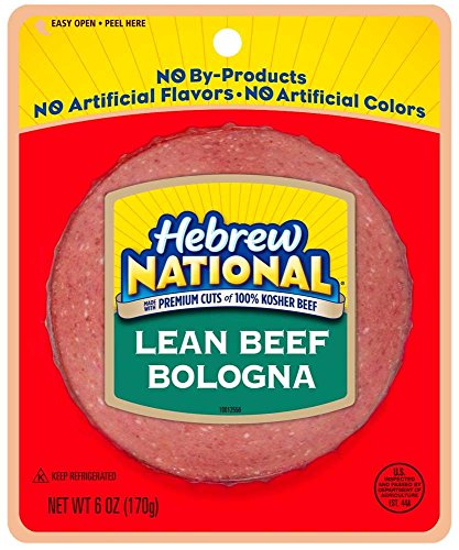 Hebrew National Reduced Fat Beef Bologna, 6 Ounce -- 12 per case. (Hebrew National Deli Mustard compare prices)