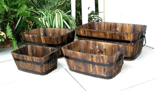 Rectangular Barrel Planters 4 Pc