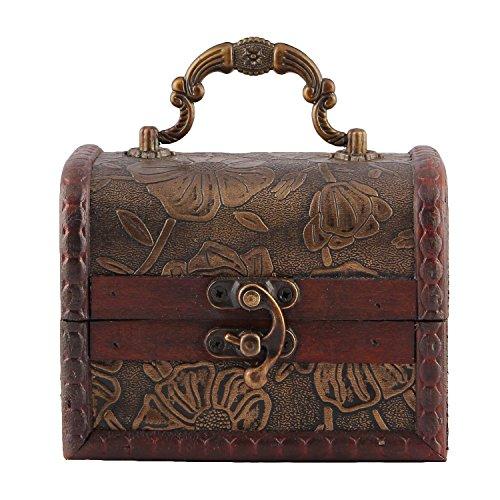 Valdler Antique Wooden Embossed Flower Pattern Jewelry Box Storage Organizer Pack of 2