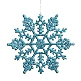 """Club Pack of 24 Turquoise Blue Glitter Snowflake Christmas Ornaments 4"""""""
