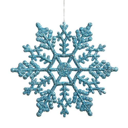 Club Pack of 24 Turquoise Blue Glitter Snowflake Christmas Ornaments 4″