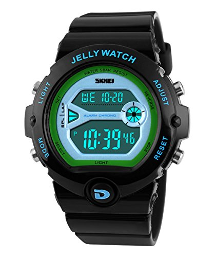 SKMEI Children's SK1153A Outdoor Sports Multifunction Waterproof Jelly Digital Electronic Watch Black (Waterproof Jelly Watch compare prices)