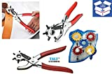 TAG3 (TM) Combo High Quality Revolving Punch Pliers Leather Canvas Rubber Belt Holes and 5 PCS HOOK SET