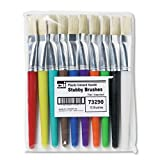 Creative Arts by Charles Leonard Stubby Flat Paint Brushes, Assorted Colors, 10/Set (73290)