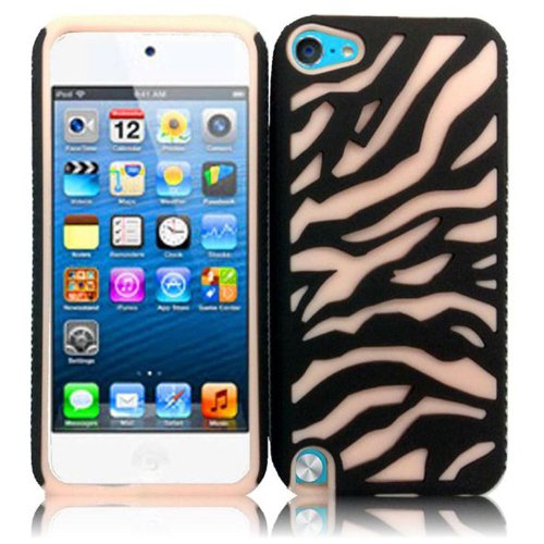 Cell Accessories For Less (Tm) For Apple Ipod Touch 5 Zebra Design - Rubberized Black(Pc)+Baby Pink(Silicone) // Free Shipping By Thetargetbuys front-1001249