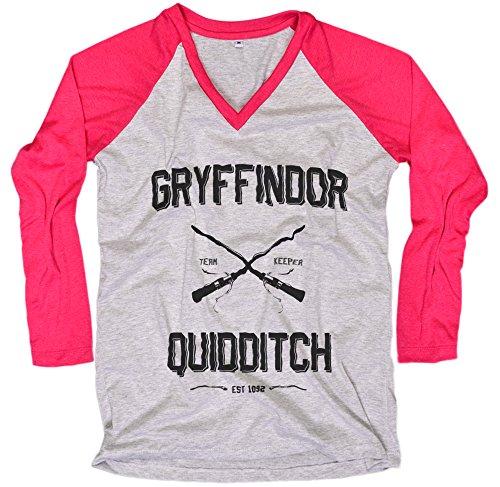 [Harry Potter Women T-Shirt Gryffindor Quidditch shirt Everytees Long Sleeve Baseball Raglan Gift for Women] (Dobby Harry Potter Costumes)