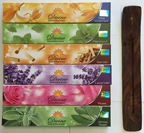 Gift Set of 6 Nag Champa Sandalwood Patchouli Rose Lavender and White Sage Incense Kit(incense Holder Included)