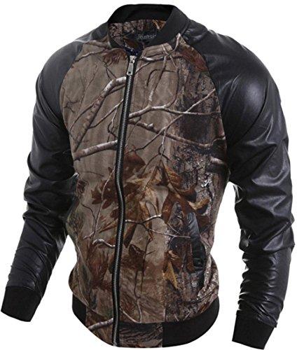 jeansian Stampa Foresta Cool Uomo PU Pelle Cerniera Biker Giacca Cappotto Capispalla Jacket 9549 Multicolor M