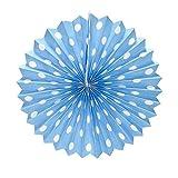 PrettyurParty Light Blue Polka Dots Paper Fans