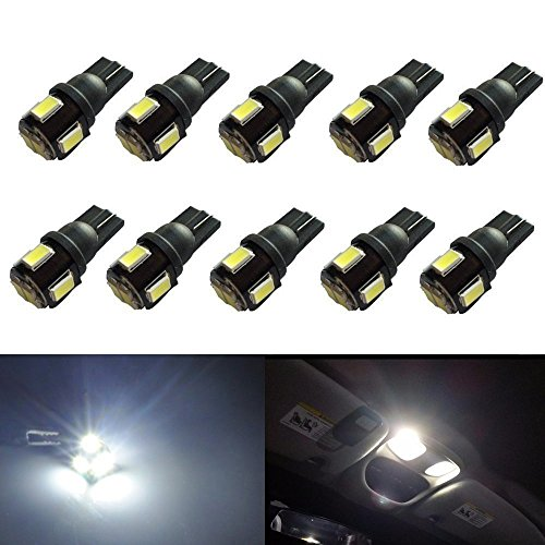 JDM ASTAR 10pcs Super Bright 194 168 175 2825 W5W 158 161 T10 Wedge High Power 5630 SMD 6000K LED Bulbs, Xenon White(Best Value on the market) (Geo Metro Headlight Door compare prices)