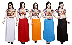 Pistaa combo of Women's Pure Cotton Milky White, Maroon, Orange, Turquoise Blue and Coca Cola Color Best Ethinic Solid Comfortable Inskirt Saree petticoats