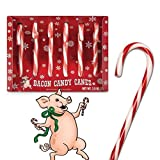 Six Bacon Flavored Candy Canes Christmas Xmas Cane Red White Funny Boxed