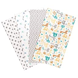 Trend Lab Lullaby Zoo 4 Deluxe Flannel Burp Cloths