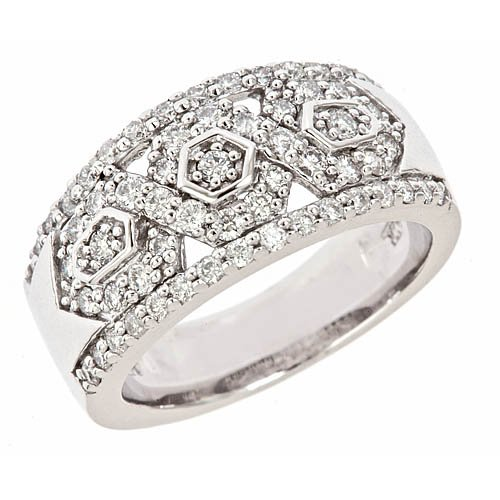 14k White Gold Diamond Wedding Anniversary Band Ring Antique Style (0.90 Cttw, S1 Clarity, G Color)