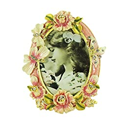 Pink Rose Butterfly Picture Frame Bejeweled Victorian Style