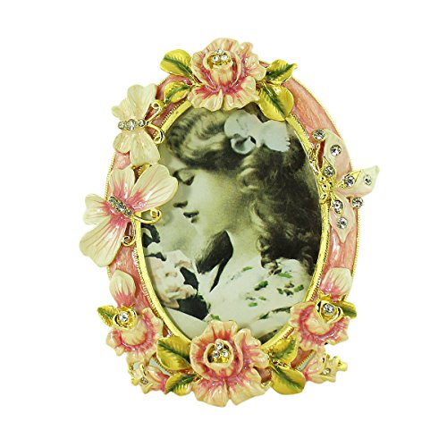 Pink Rose Butterfly Picture Frame Bejeweled Victorian Style - 1