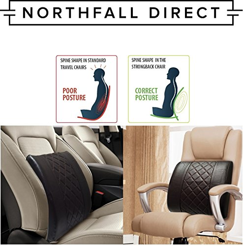 premium pu leather lumbar support by northfall direct lower back pillow cushion for car seats. Black Bedroom Furniture Sets. Home Design Ideas