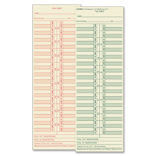 TOPS Time Cards, Semi-Monthly, 2-Sided, 3-1/2″ x 10-1/2″, Manila, Green/Red Print, 500-Count (1276)