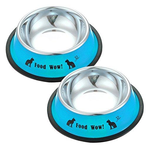 2 pcs Stainless Steel Anti-skid Pet Dog Cat Food Water Bowl Pet Feeding Bowls Tool (Blue)