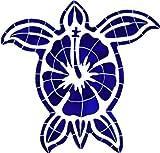 Ceramic Blue Hibiscus Turtle Mosaic