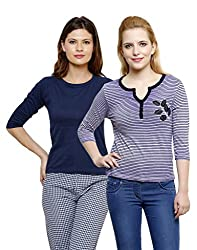 Limeberry Multi Color Womens Pack of 2 Cotton Tops