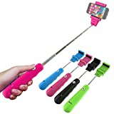 Extendable Handheld Bluetooth Monopod - Zaza Selfie Stick for Iphone, Samsung, IOS, Android - Adjustable Clip Fits Most Phones (Pink)