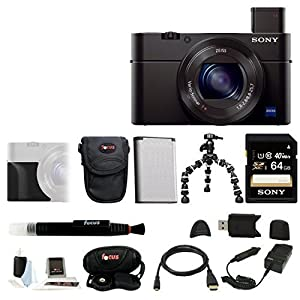 Sony DSC-RX100M III Cyber-shot Digital Camera with Sony Attachment Grip (AGR2) and Battery/Charger Accessory Bundle