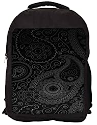 Snoogg Paisely Pattern Black Backpack Rucksack School Travel Unisex Casual Canvas Bag Bookbag Satchel