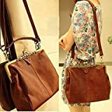 Fashionbox Classic Ladies' PU Crossbody Tote Bag Vintage Casual Message Shoulder Handbag - Vintage Brown