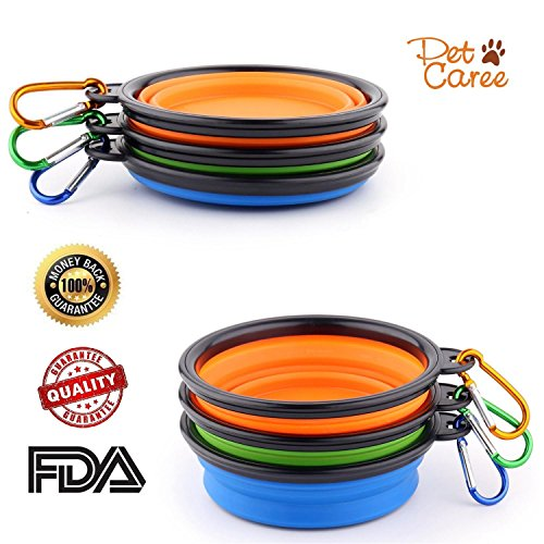 SET OF 3 Collapsible Travel Dog Bowl with Carabiners-Perfect Dogs/Cats Food & Water Bowl - Dishwasher Safe Premium Food Grade Silicone - BPA Free, by Petcaree (Rim Seat Sex compare prices)