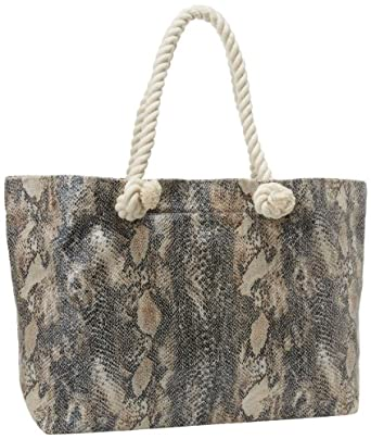 Buji Baja Women's Python Tote With Rope Handles  and Zip Out Tablet Case, Grey Multi, One Size