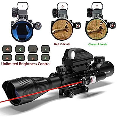 Tongji C4-12x50 AR15 Tactical Rifle Scope with Red Laser and Holographic Dot Sight from Tongji