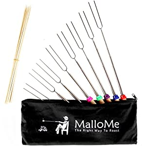 MalloMe Marshmallow Roasting Sticks Set of 8 Telescoping Smores Skewers & Hot Dog Forks 32 Inch Patio Fire Pit Accessories Camping Cookware Campfire Cooking Kids Fireplace Accesories - FREE Canvas Pouch, 10 Bamboo Sticks & Marshmallow Sticks Ebook