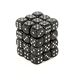 Chessex Dice d6 Sets- Borealis Smoke with Silver - 12mm Six Sided Die (36) Block of Dice