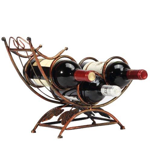 Antique Rocking Chair Design Bronze Tone 3 Bottle Tabletop Wine Rack Display Organizer Holder Stand front-1011525