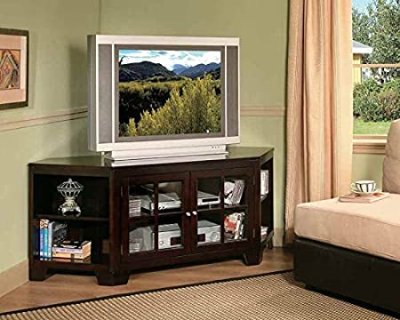 Hampton 62 in. Corner TV Stand in Espresso Finish