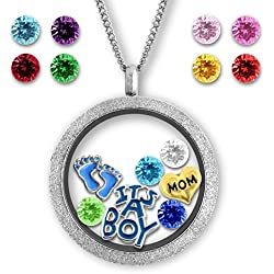 Floating Charm Memory Locket Necklaces- New Mom Gifts for Baby Boy with Chain and Charms Included
