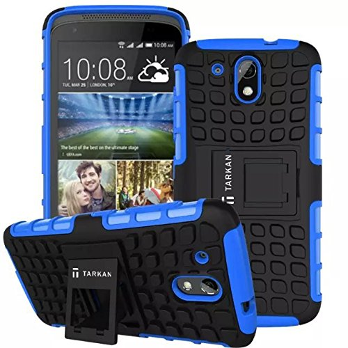 TARKAN Hard Armor Hybrid Rubber Bumper Flip Stand Rugged Back Case Cover For HTC Desire 526G Plus (526G+) - Blue