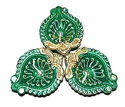 Sanskrite India Hand-Crafted Designer Multicolor Divine Diwali Diya - Set of 3