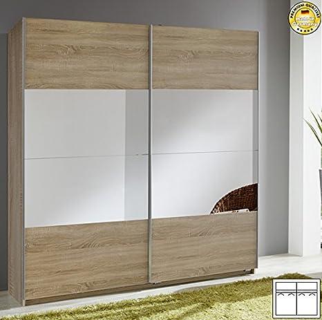 Schwebeturenschrank 585875 Kleiderschrank eiche sägerau mit Spiegel 180cm
