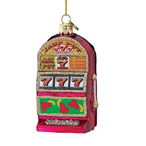 Kurt Adler 3-1/2-Inch Noble Gems Glass Slot Machine Ornament