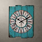 Aero Snail Vintage Retro Country Style Light Blue Wood Wall Clock Home Decor Watches