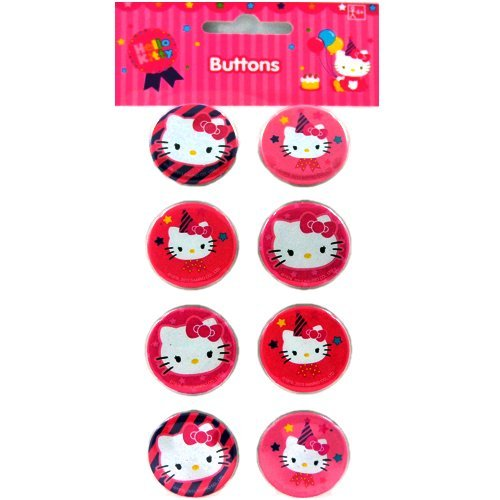 Hello Kitty Birthday Buttons / Pins (8ct)