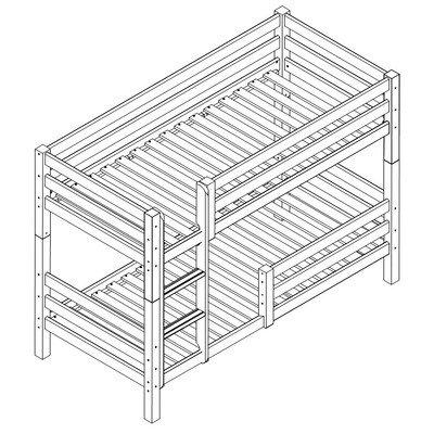 Etagenbett XXL, 70 x 160 cm Größe (Liegefläche): 90cm B x 200cm T, Farbe: Natur, Ausführung: Flexibler Einlegelattenrost
