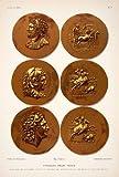 1890 Chromolithograph Gold Coin Currency Tarsis Tarsus Turkey Roman Hercules Art - Original Chromolithograph
