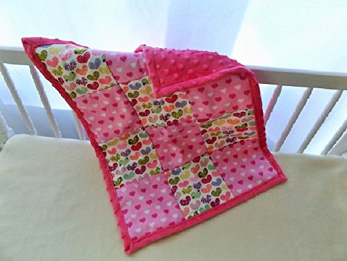 Ornate Hearts with Minky Baby and Toddler Quilt, Security Blanket - Lovey - Cradle, Carseat, Stroller, Travel