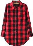 (アリルチョウ) Aguilucho ネルシャツ レディース 薄手 赤 ロング チェック 長袖 M レッド