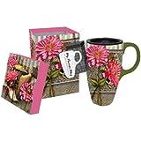 17 oz. Floral Boxed Ceramic Latte Travel Cup