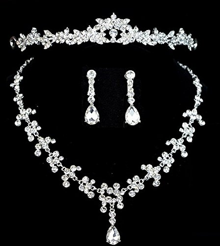 Rhinstone Crystal Bridal Wedding Jewelry Sets Wedding Accessory (Necklace+Earring+Crown) (SET2)