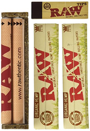 RAW-King-Size-ORGANIC-Deal-KingSlim-Organic-Cigarette-Rolling-Papers-110mm-Rolling-Machine-Filter-Tips-INCLUDES-Black-Velvet-Pouch